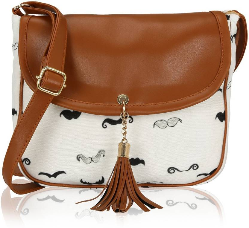570118c60bea Kleio Women Casual White Canvas Sling Bag White - Price in India ...