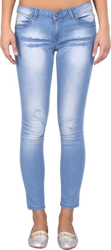 68f50dd9 Klorophyl Skinny Women's Light Blue Jeans - Buy Ocean Blue Klorophyl ...