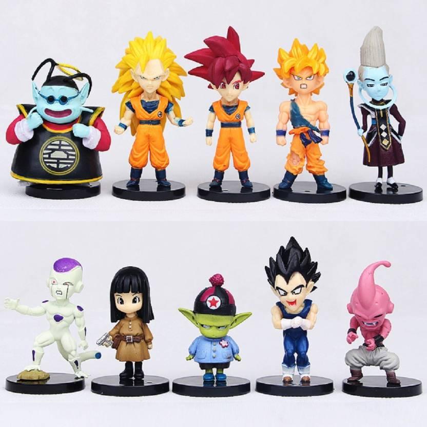 Toy Mela Dragon Ball Z 10pcs Set Super Saiyan Son Goku Gohan King Kai Whis Action Figures Vegeta Frieza Buu Doll Pvc Figure Toys Brinquedos Anime