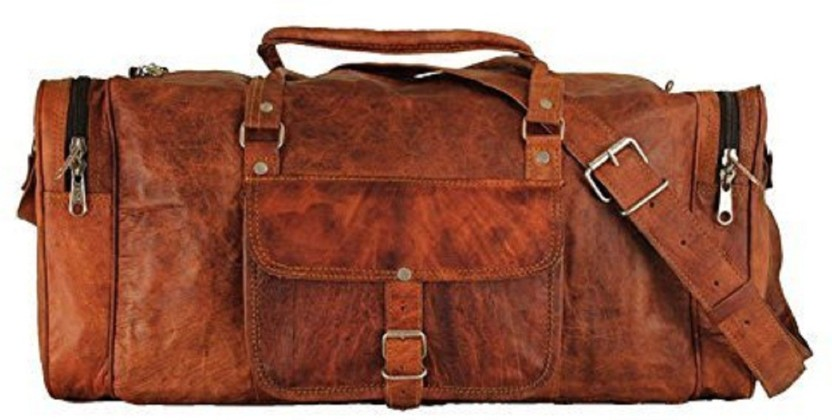 Men Brown Vintage Genuine Travel Luggage Duffel Gym Bags Tote Goat Leather