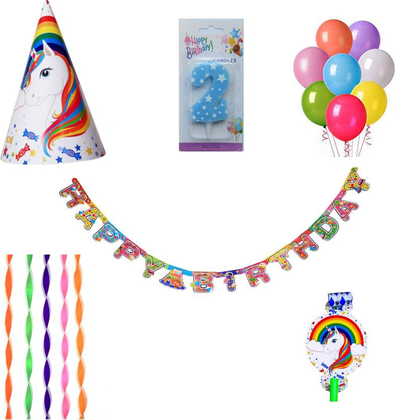 PEPUP Unicorn Theme Kids 2nd Birthday Party Decoration Value Pack For 6 Children