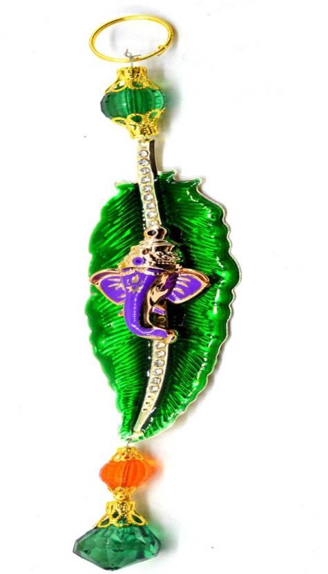 Faynci Purple Leaf Ganesh With Shiny Diamond Car Rearview Mirror