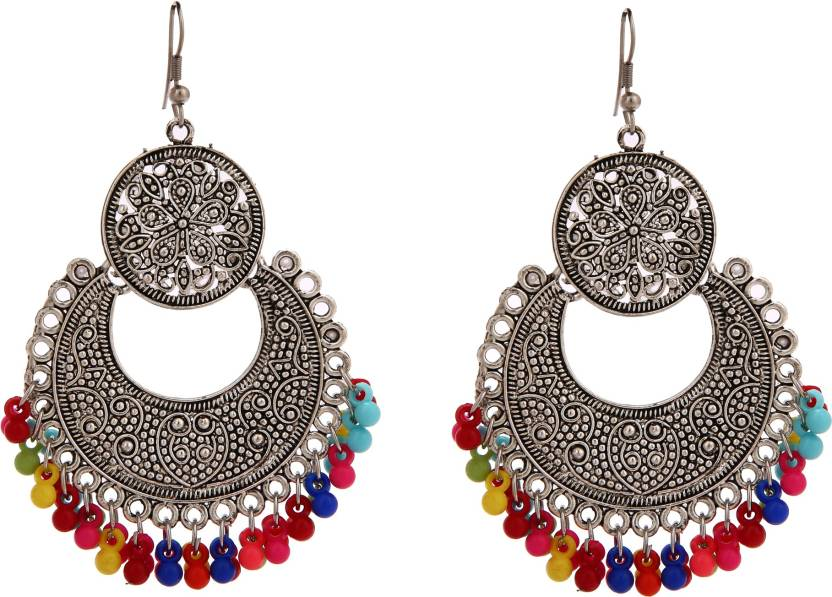 636336484 maidenrain MaidenRain Oxidize Multi Color Beads Chandbali Long Earring  Perfect For Party Wear Fancy Traditional Stylish