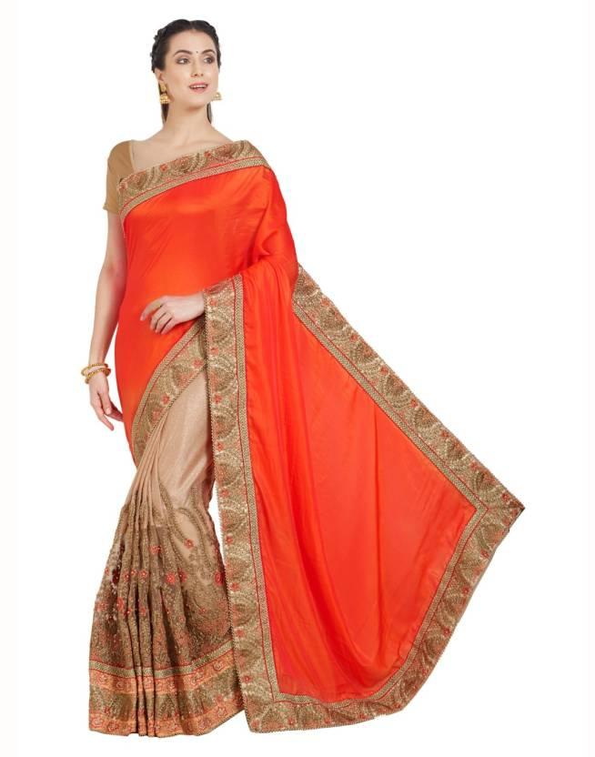 2152827d4d7270 Desi Butik Embroidered Fashion Satin, Silk, Lycra Saree (Orange, Beige)