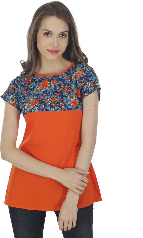 208fd2ba7 The Bebo Casual Half Sleeve Floral Print Women s Orange Top - Buy The Bebo  Casual Half Sleeve Floral Print Women s Orange Top Online at Best Prices in  India ...