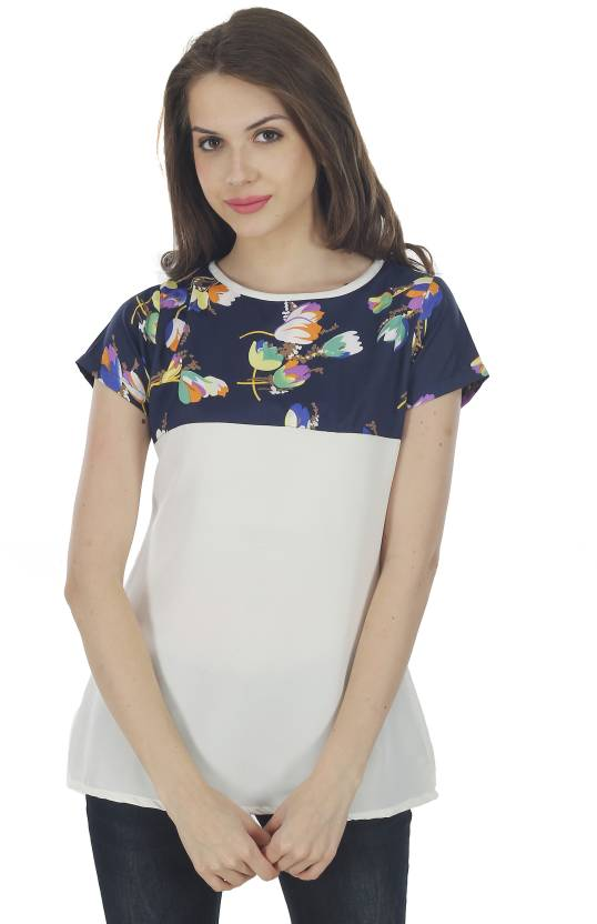 684a4e69d The Bebo Casual Short Sleeve Floral Print Women s Grey Top - Buy The Bebo  Casual Short Sleeve Floral Print Women s Grey Top Online at Best Prices in  India ...