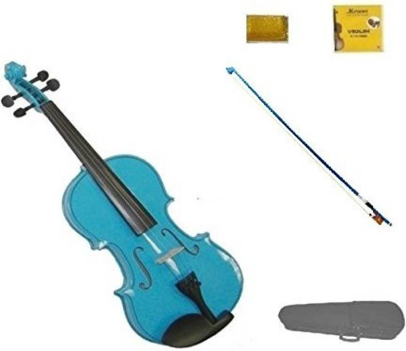 Generic Merano 3/4 Size Blue Violin With Blue Bow, Case, Free Rosin