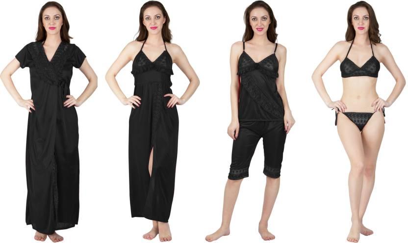 23d8e83c60 Bombshell Women s Nighty with Robe - Buy BLACK Bombshell Women s ...