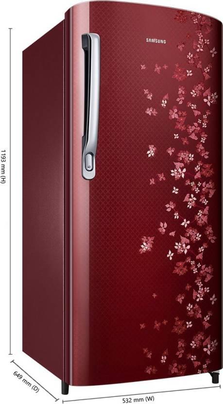 Samsung 192 L Direct Cool Single Door 3 Star Refrigerator(Sangneri Red, RR19M1723RY/HL)