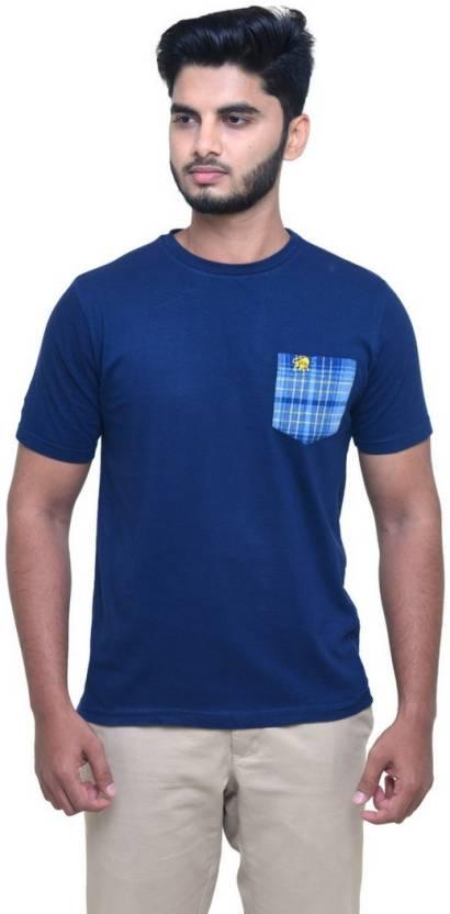 e0f4f58c146 Madrasi Checks Solid Men Round Neck Dark Blue T-Shirt - Buy Madrasi Checks  Solid Men Round Neck Dark Blue T-Shirt Online at Best Prices in India