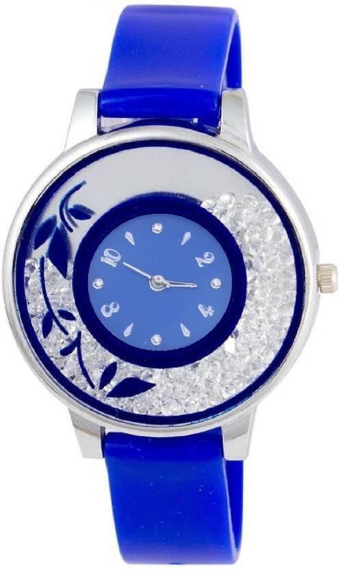 59fa8e90b4 KDS New Stylish Blue Movable Diamond Designer Glass Girls Watch - For Men &  Women Watch
