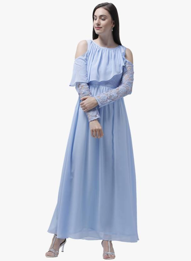 ac966d44571 Athena Women s Maxi Blue Dress - Buy Athena Women s Maxi Blue Dress Online  at Best Prices in India