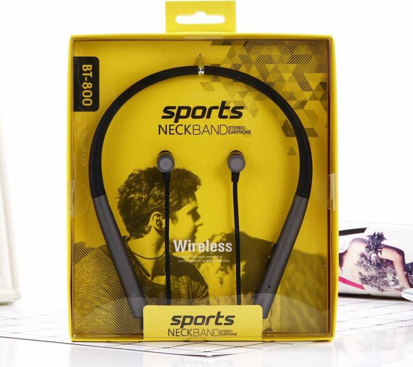 4760a3690d2 OUTSMART BT800 Earphone Sports Neckband Stereo Headphone Wireless,  SweatProof With Mic and Magnetic Latch Bluetooth Headset with Mic (Black,  In the Ear)