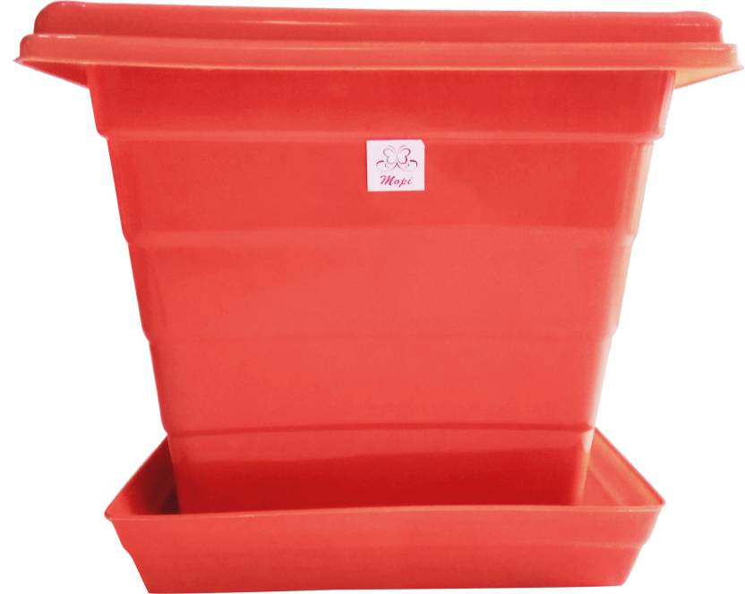 Mopi Mopi Square 12 Inch Orange Planter With Plate Pack Of 2 Plant
