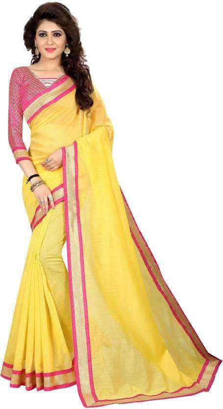 1d0f1d1b89a Buy Avsar Prints Plain Chanderi Poly Chanderi Yellow Sarees Online ...