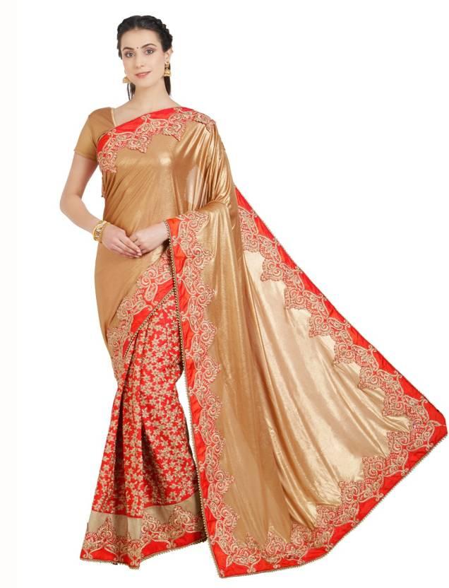 9b2cc7271cccd3 Desi Butik Embroidered Fashion Lycra, Net, Silk Saree (Beige, Orange)