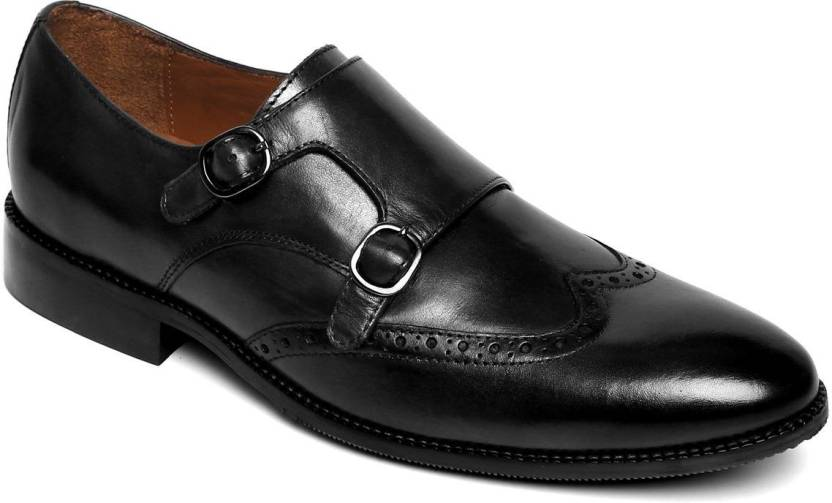 cec003dfe849 Brune Men black hand finished leather double monk strap formal shoe Party  Wear For Men (Black)