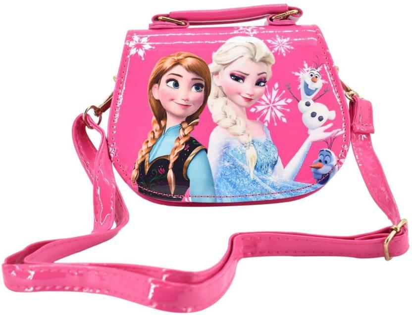 38848bf737 SHOPNJAZZ Frozen Handbags Cute Sling Bag Wallet Purse For Kids Girls Gift  2-5Y - Dark Pink Shoulder Bag (Pink