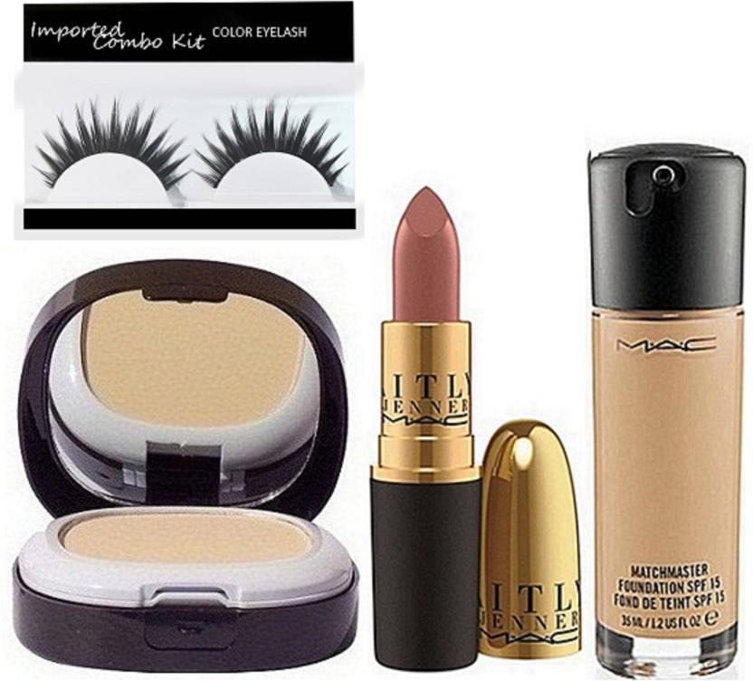 Imported Combo Kit Eyelashes With Mac Foundation Matte Lipstick