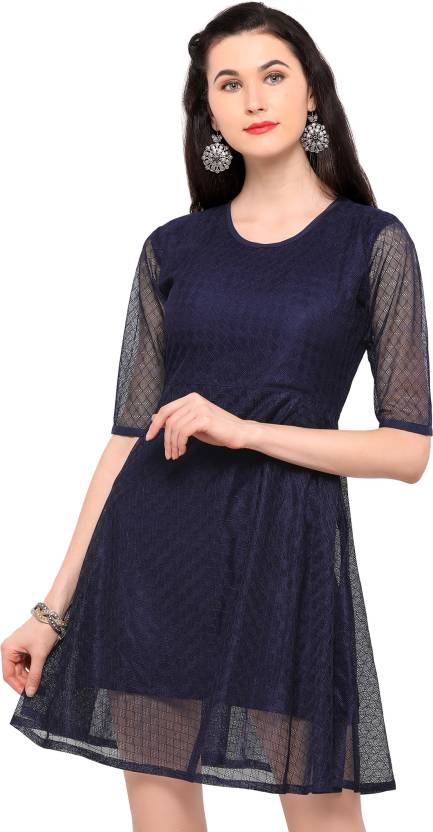 d426d883b Party Wear Dresses Women's Fit and Flare Dark Blue Dress - Buy Party Wear  Dresses Women's Fit and Flare Dark Blue Dress Online at Best Prices in  India ...