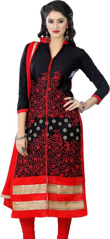 6e441750a6 Women Latest Fancy Designer Salwar Suit Cotton Blend Embroidered,  Embellished Kurta & Churidar Material