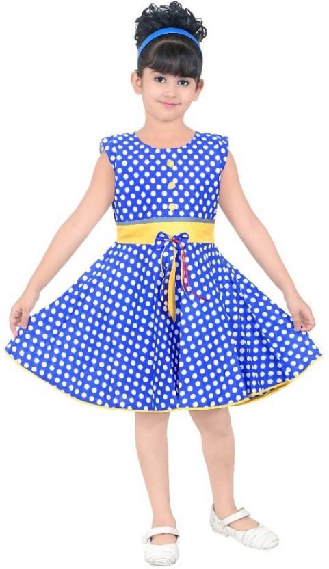 553248af2634 N BAHUBALI Girls Midi/Knee Length Casual Dress (Light Blue, Sleeveless)