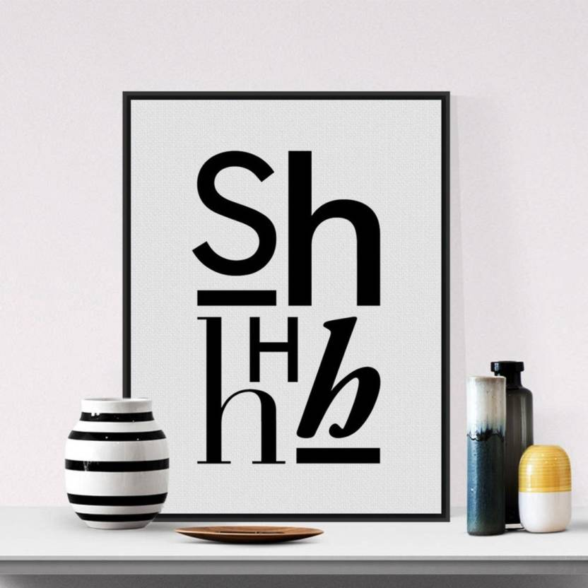 Modern Minimalist Black White Alphabet Typography Quotes A4 Art