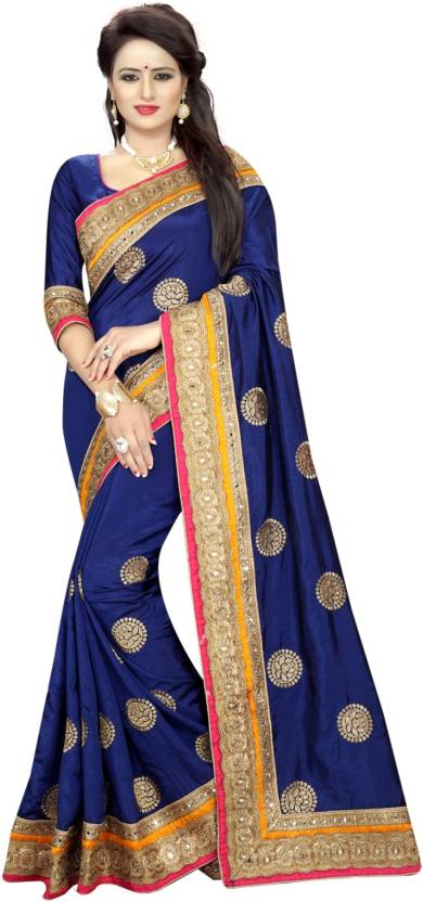 Buy Online Bazaar Embroidered Fashion Poly Silk Blue Gold Sarees