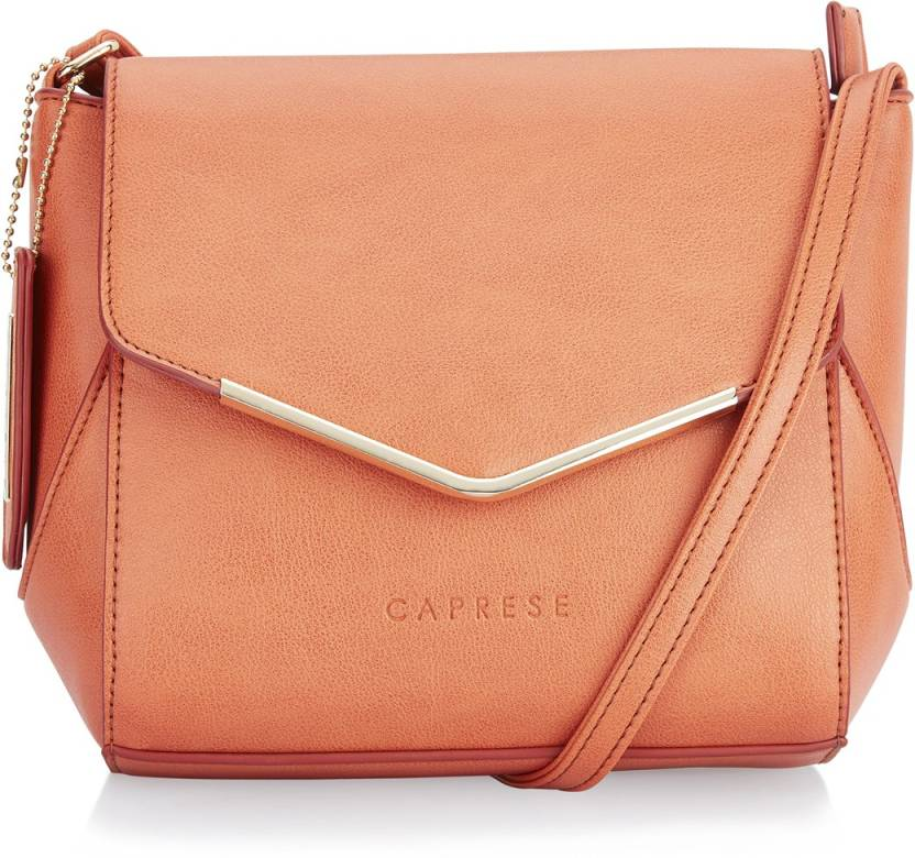 0fc46d634 Caprese Women Casual Orange Leatherette Sling Bag Peach - Price in India