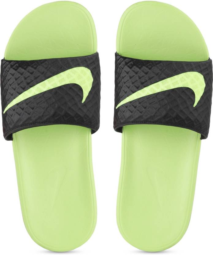 e2421e9ad4e6c Nike BENASSI SOLARSOFT Slides - Buy BLACK VOLT Color Nike BENASSI SOLARSOFT  Slides Online at Best Price - Shop Online for Footwears in India