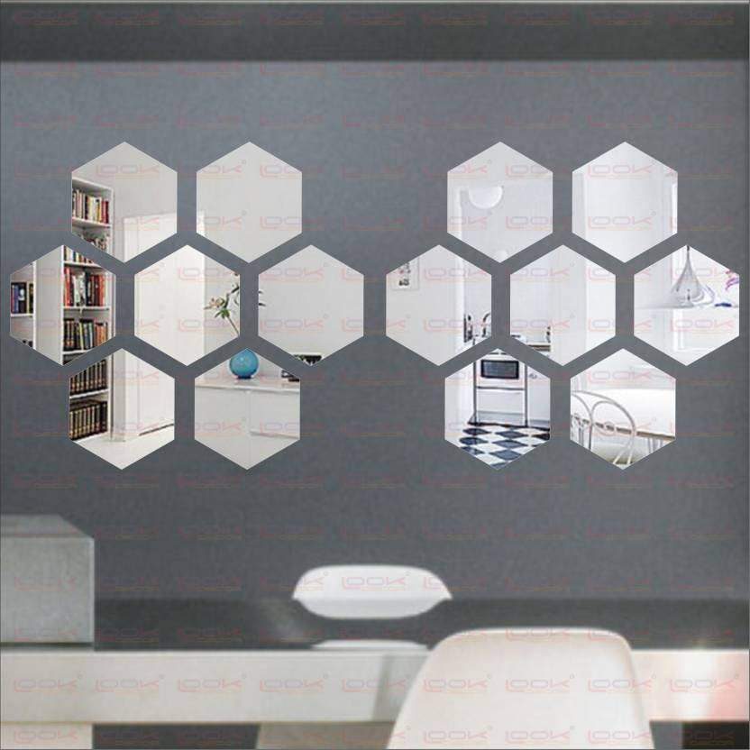 LOOK DECOR Extra Large Hexagon Silver (pack of 14)Acrylic