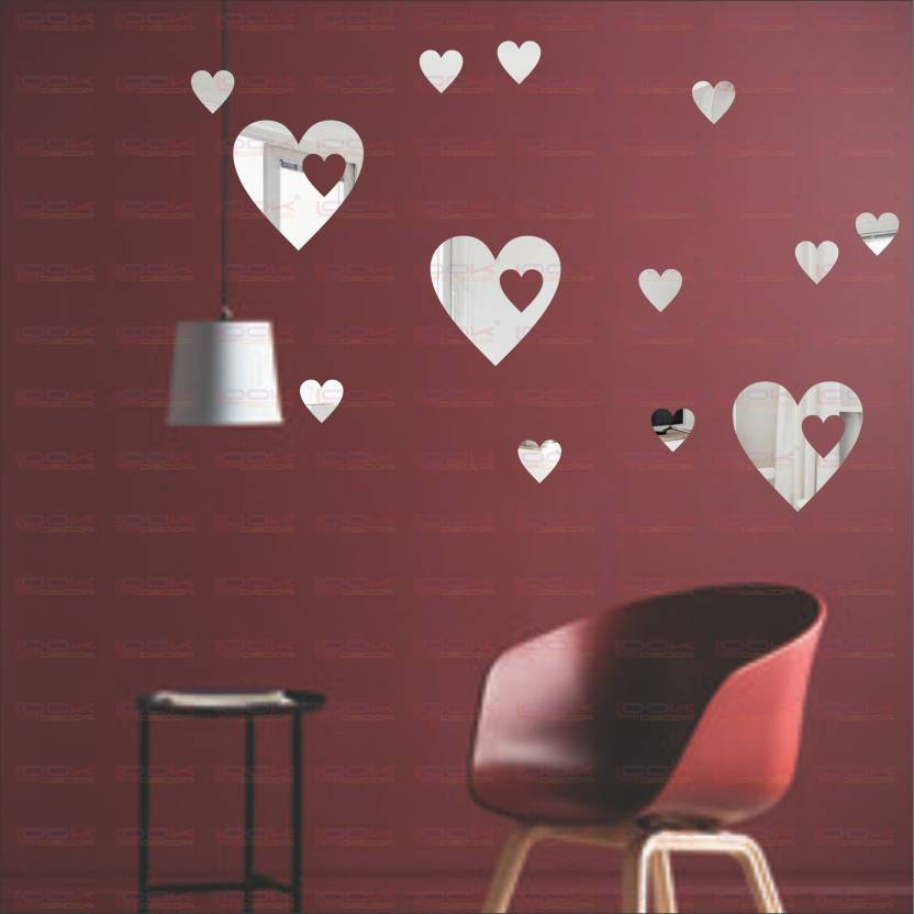 9d9993a058 LOOK DECOR Extra Large Hearts Silver (pack of 13)Acrylic Sticker, 3D  Acrylic Sticker, 3D Mirror, 3D Acrylic Wall ...