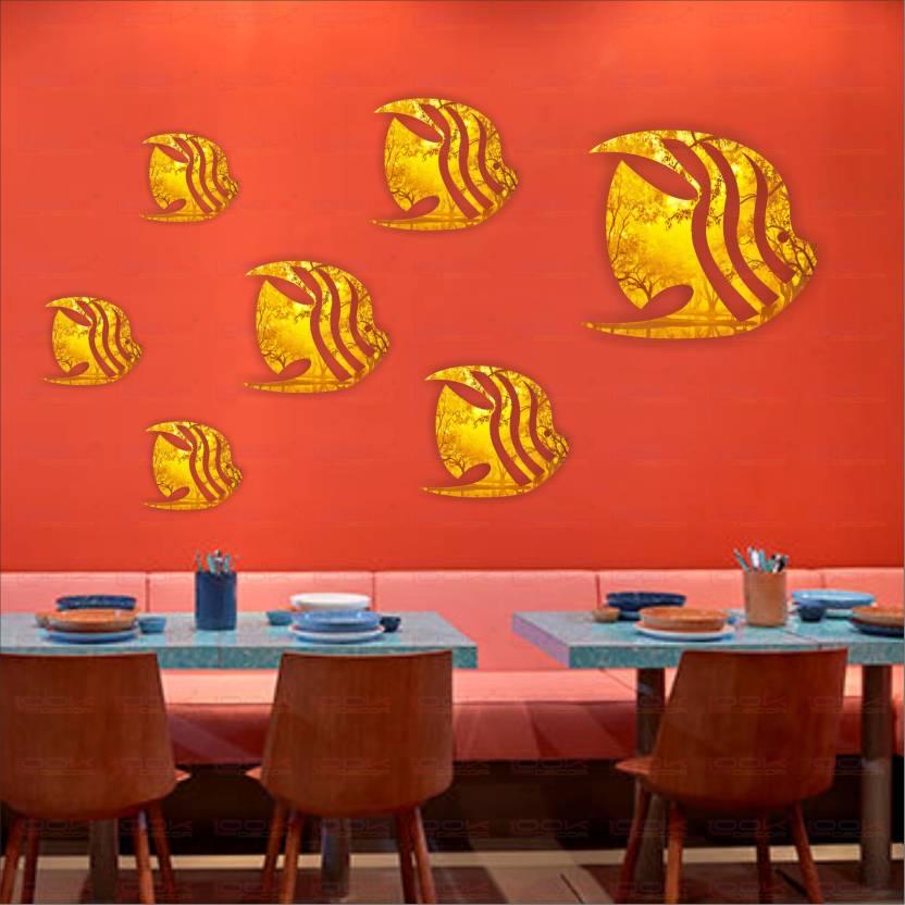 look decor extra large fish aquarium golden (pack of 7)acrylic