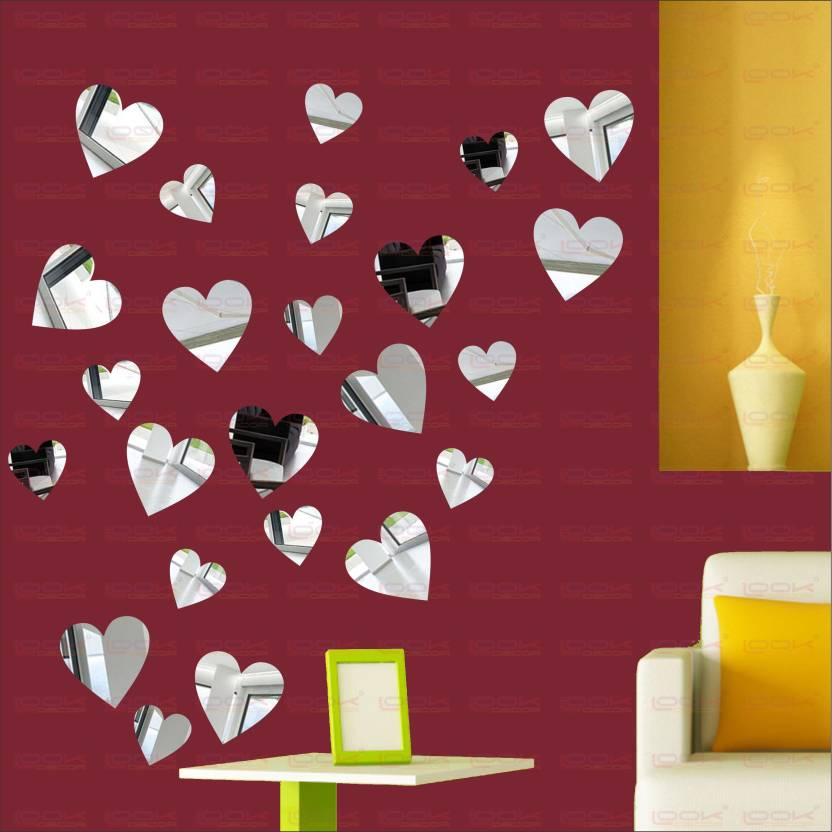f53c5a84dd LOOK DECOR Extra Large Large And Small Heart (Pack of 24)Acrylic Sticker, 3D  Acrylic Sticker, ...