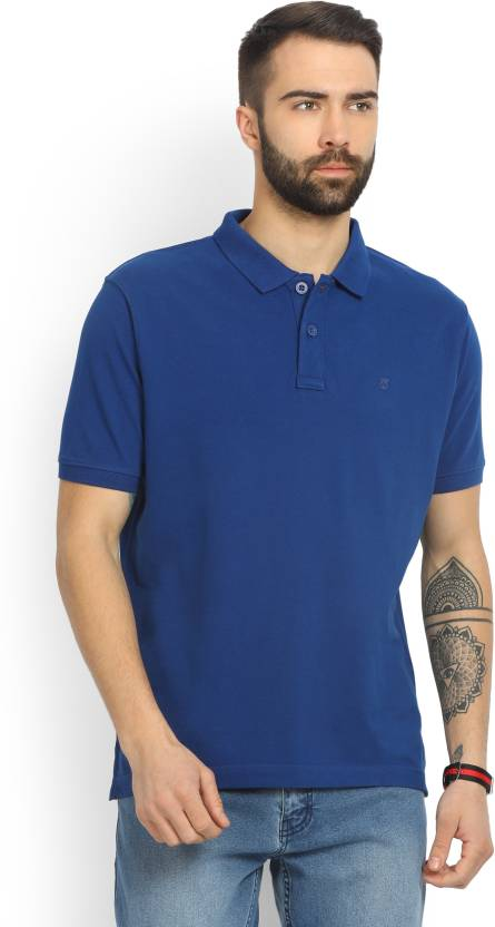 Wrangler Solid Mens Polo Neck Blue T-Shirt