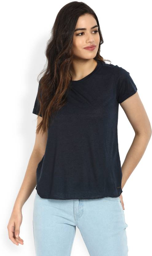 d77844c1a309 Vero Moda Solid Women Round Neck Dark Blue T-Shirt - Buy Navy Vero Moda  Solid Women Round Neck Dark Blue T-Shirt Online at Best Prices in India |  Flipkart. ...