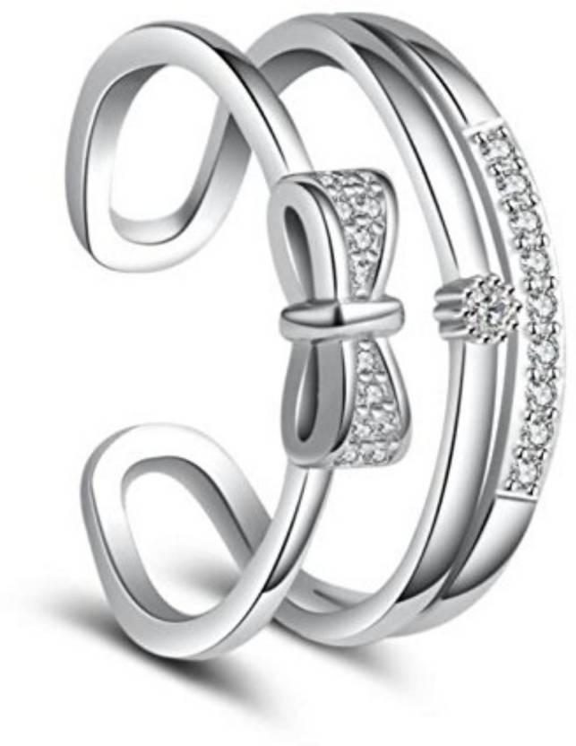 db0bec1da2 MYKI Korean vogue double layer bow sweet open Adjustable ring For ...