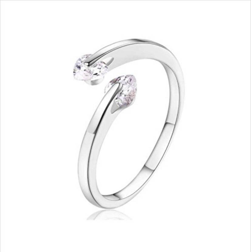 1ea19821e9ac04 MYKI Sizzling Attractive Dual Zircon Adjustable Ring For Women   Girls  (Silver) Sterling Silver Swarovski Zirconia 24K White Gold Plated Ring  Price in India ...