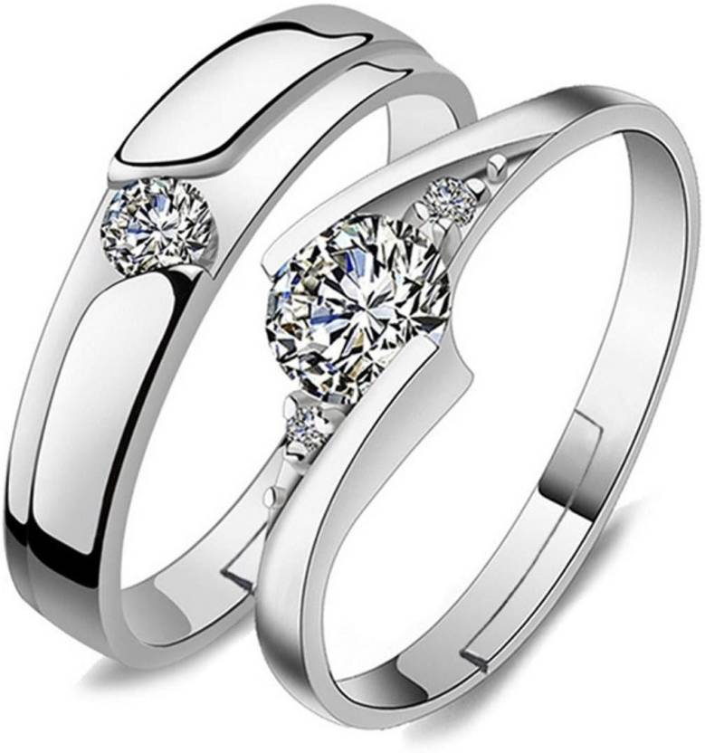 f98e6e770 MYKI King & Queen Love Forever Designer Edition Adjustable Love Couple  Rings Sterling Silver Swarovski Zirconia 24K White Gold Plated Ring Price  in India ...