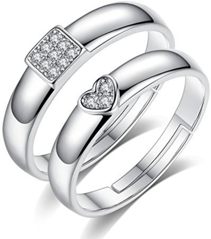 Myki Gorgeous Titanium Love Couple Rings Sterling Silver Swarovski
