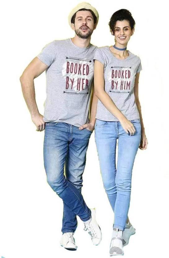 f93cb8676 BonOrganik Printed Men's & Women's Round Neck Grey T-Shirt - Buy ...