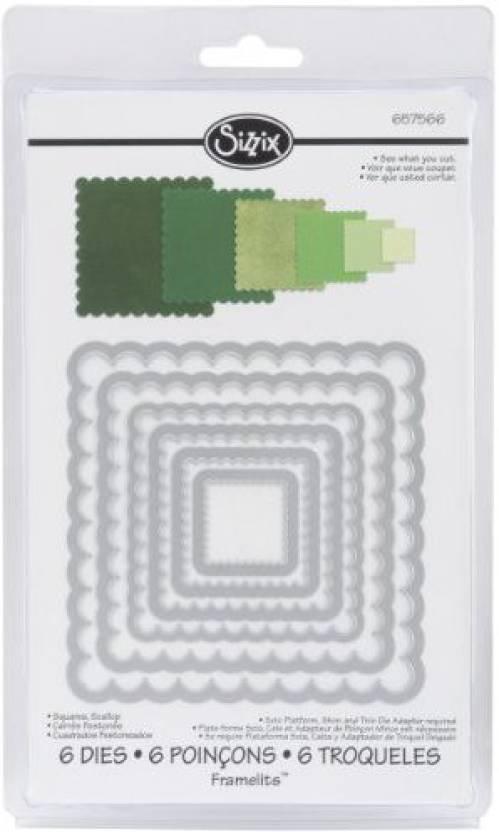 Sizzix Framelits Dies 6/Pkg - Scallop Squares - Framelits