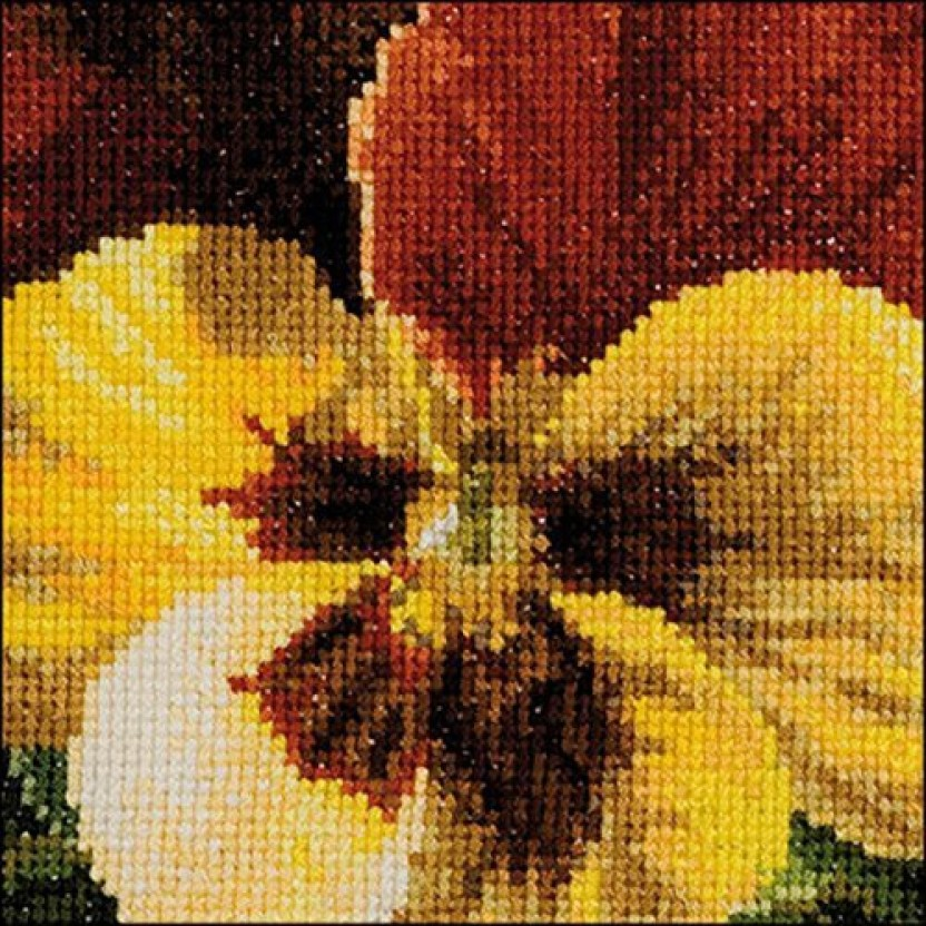 """Thea Gouverneur Pansy X On Aida Counted Cross Stitch Kit-3.75/""""X3.75/"""" 18 Count"""