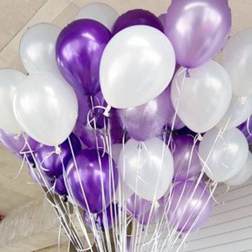 AMFIN Solid 10 Inch Pack Of 50 Metallic Balloons Dark Purple Light
