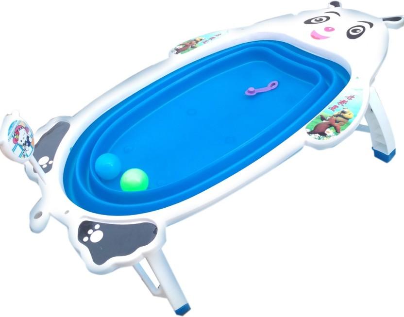 HALO NATION Folding Baby Bath Tub Collapsible Portable Panda Shower Tub Blue
