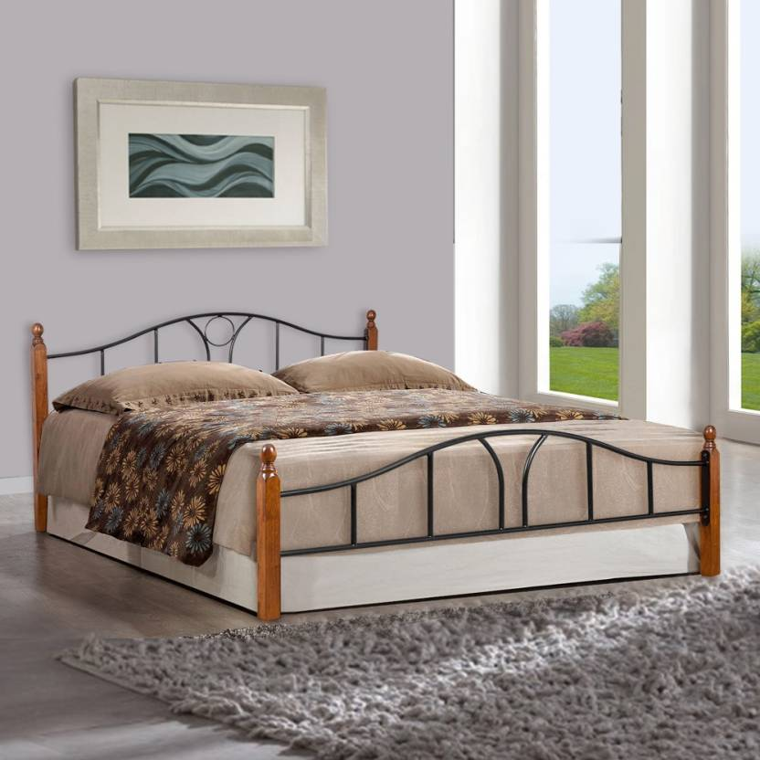 FurnitureKraft Toronto Metal Queen Bed Finish Color   Black