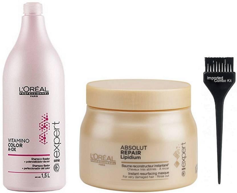 0090e5658 Imported Combo Kit Of Hair Brush,L'Oreal Paris Professional Vitamino Color  Anti Ox Shampoo With L'Oreal Professional Absolute Repair Lipidium Spa (Set  of 3)