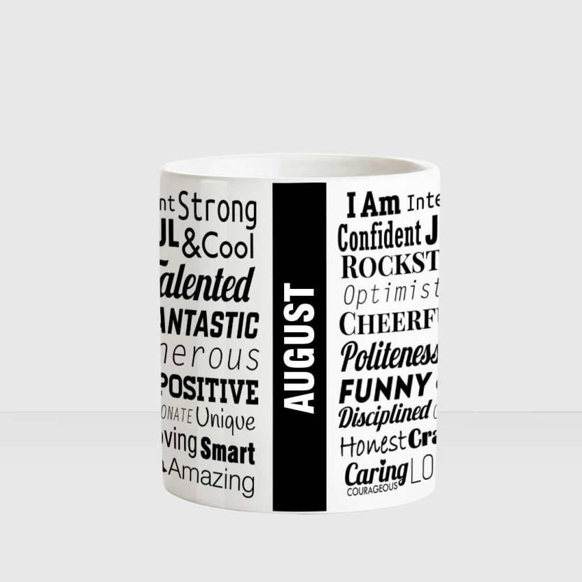Huppme AUGUST Good Personality White Ceramic coffee Name Ceramic Mug