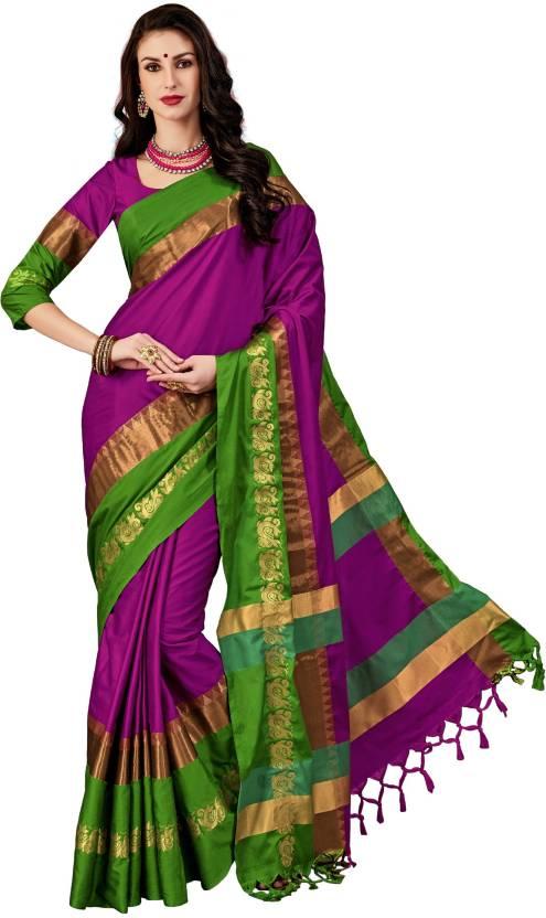 17cdadb3b6 Buy Taanshi Self Design Kanjivaram Silk Multicolor Sarees Online ...