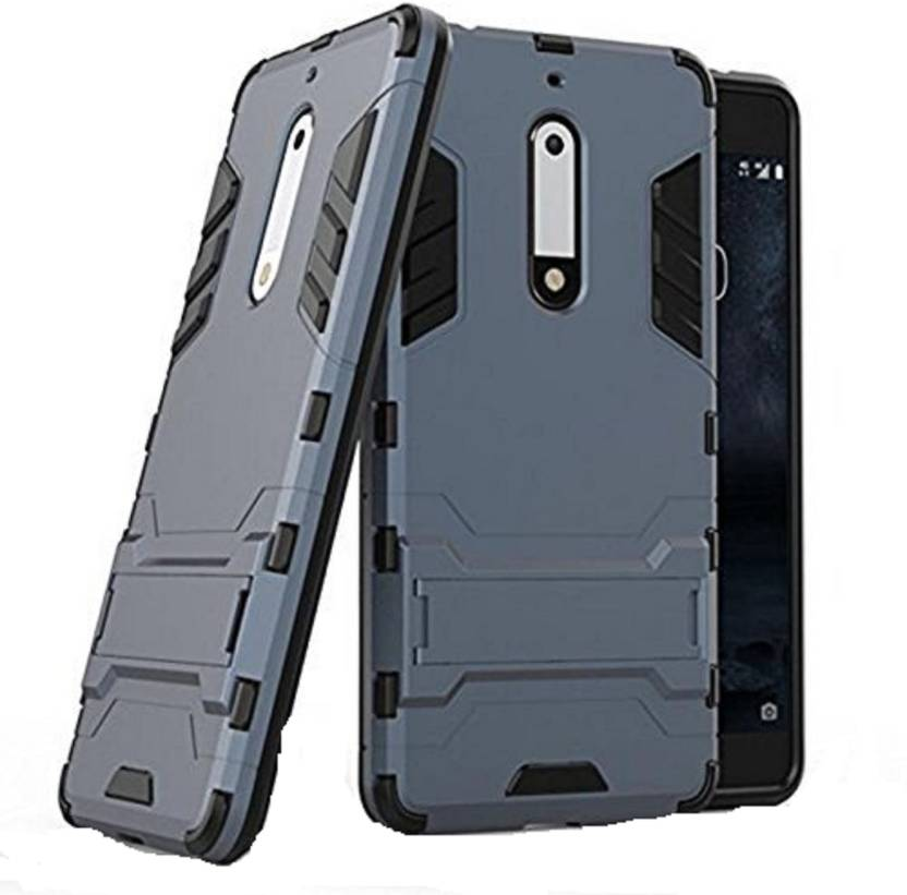 MODIK Back Cover for Nokia 5 Heavy Duty D3 Robot Kickstand Cover Shockproof Military Grade Armor Defender Series Dual Protection Layer Hybrid TPU + PC ...